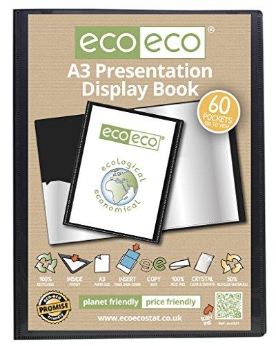 eco-eco A3 50% Recyclé 60 Pocket Couleur Noir Présentation Affichage du Livre eco021