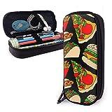 Cartoon French Pizza Burger Hot Dog Fries Tacos PU Leather Pencil Case Bolso de la pluma, Alta Capactiy Double Zipper Pen Case