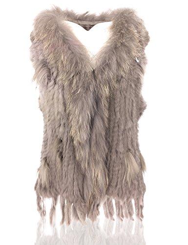 Uilor® Damen 100% Echte Kaninchen Fellweste Winter Gestrickt Pelzweste Länge 65cm