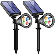 URPOWER Solar Lights 2-in-1 Solar Powered 4 LED Adjustable Spotlight Wall Light Landscape Light Bright and Dark Sensing Auto On/Off Security Night Lights for Patio Yard Driveway Pool… (Multi Color)