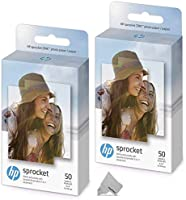 2 Pack of 50 HP Sprocket Photo Paper Sheets, Exclusively for HP Sprocket Portable Photo Printer, (2x3-inch), 100...