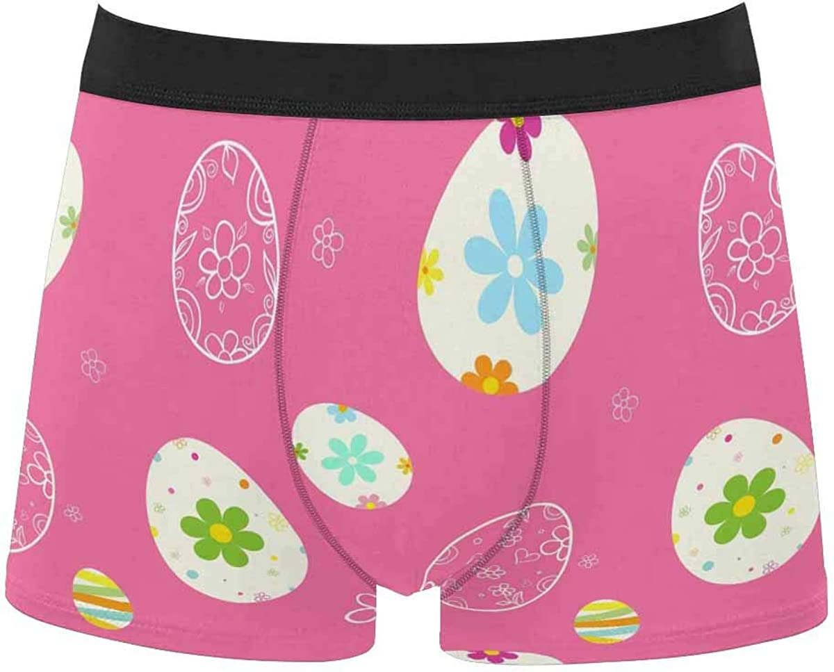 InterestPrint Breathable Polyester Boxer Briefs Underwear for Mens Juniors Happy Easter Bunny Egg