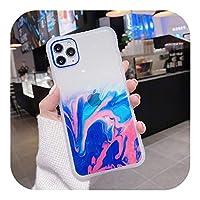 ゲスト Gradient Marble Texture Glitter Phone Case For iPhone 11 11Pro Max XR XS Max X 6S 7 8 Plus 11Pro SE2020透明裏表紙-T5-For iPhone 11