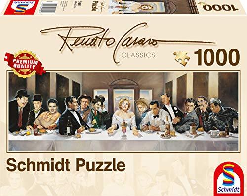 Schmidt Spiele - Renato Casaro, Dinner der Berühmten, 1000 Teile Panoramapuzzle