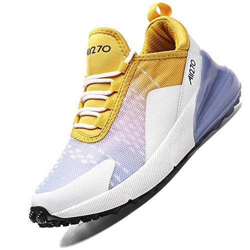 Laufschuhe Damen Frauen Turnschuhe Sportschuhe Straßenlaufschuhe Sneaker Atmungsaktiv Trainer für Running Fitness Gym Outdoor(Violett Gelb XC,41 EU)
