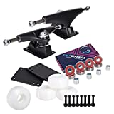Cal 7 Skateboard Package | Complete Combo Set with 139 Millimeter / 5.25 Inch Aluminum Trucks, 52mm 99A Wheels & Bearings (Black Truck + White Wheels)