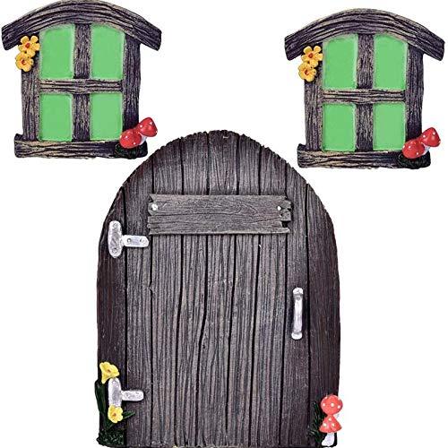 Fransande - Miniatura de hada GNOME para casa, ventana y puerta para árbol, decoración de pared, jardín, escultura