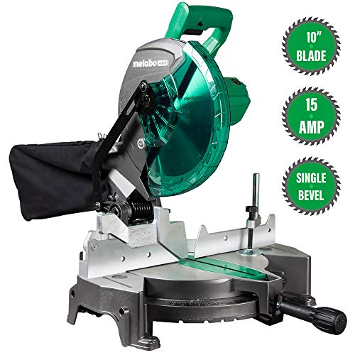 Metabo HPT C10FCGS Compound Miter Saw, 10-Inch, Single Bevel, 15-Amp Motor, 0-52° Miter Angle Range, 0-45° Bevel Range, Large Table, 10