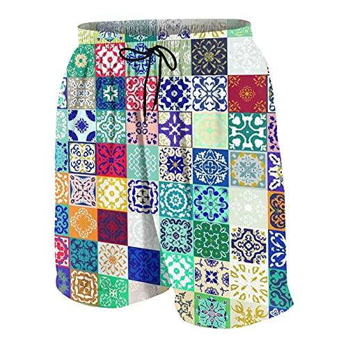 De Los Hombres Casual Pantalones Cortos,Mega Gorgeous Patchwork Coloridos Adornos de Azulejos marroquíes,Secado Rápido Traje de Baño Playa Ropa de Deporte con Forro de Malla