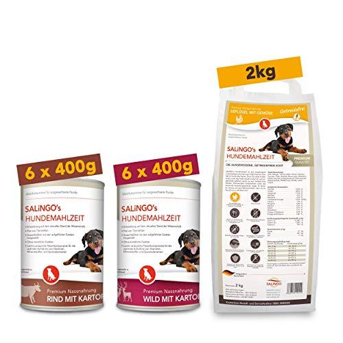 SALiNGO Hundefutter Probierpaket getreidefrei | Nassfutter und Trockenfutter für Hunde Aller Rassen