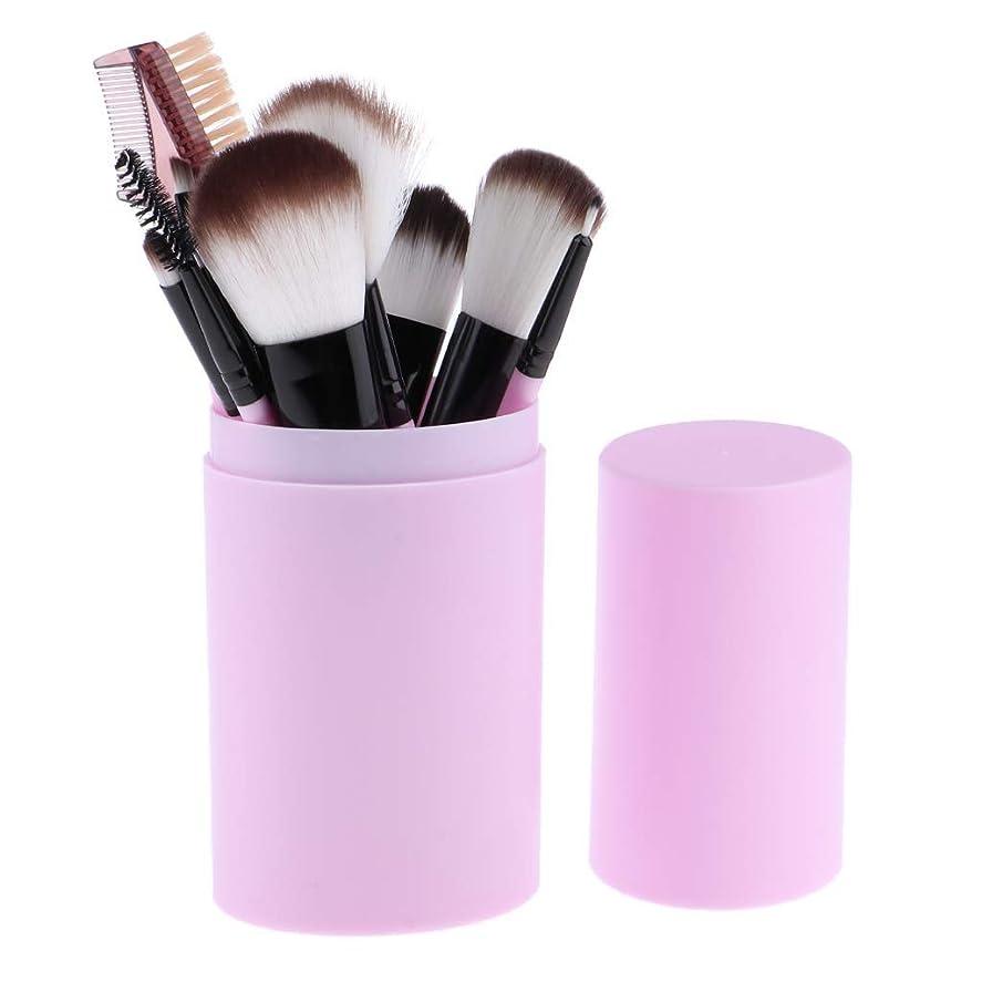 アルミニウムプレゼント精巧なMakeup brushes スミア、持ち運びにやさしい、12ピース高品質木製ハンドル化粧ブラシセット(収納バケツ化粧ブラシセット) suits (Color : Purple)