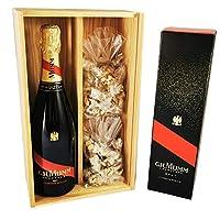 champagne mumm - cordon rouge in astuccio da 2 * 150 grammi nougadets neri - jonquier deux frères - in scatola di legno