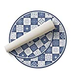 DON LETRA Alfombra Vinílica Redonda para Salón, Dormitorio, Cocina y Oficina - Baldosas Azules - 200cm de Diámetro - 2mm de Grosor - Material Impermeable y Lavable, ALV-023
