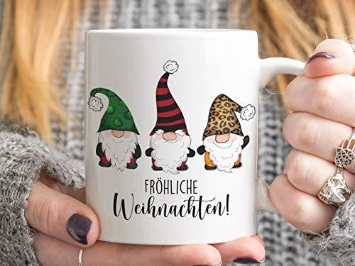 Tachinedas Kreativshop Weihnachtstasse mit Wichtel und Spruch Bedruckte Tasse Fröhliche Weihnachten