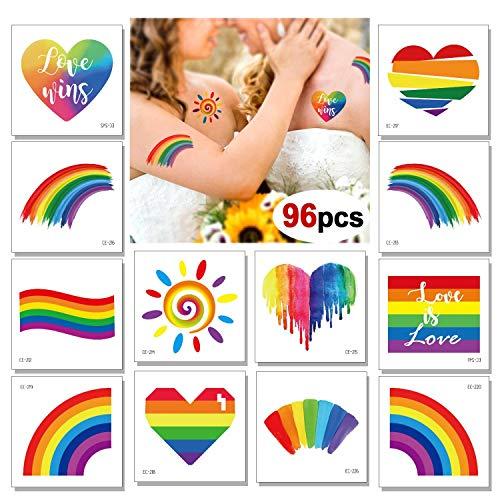 96 Sheets Rainbow Temporary Tattoos, Konsait...