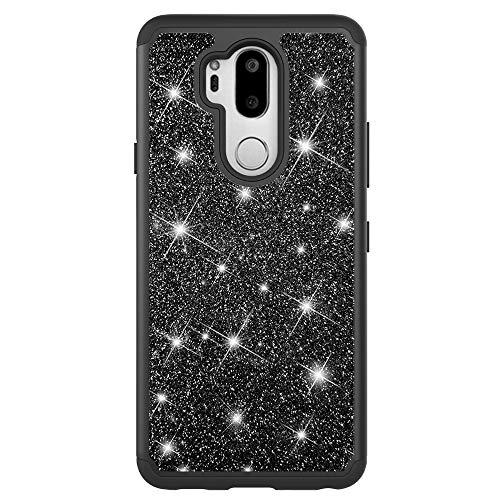 CLTPY Nero Cover LG G7 ThinQ, LG G7 ThinQ Cover con Glitter Scintillante, [2 in 1] Dorso in Plastica Rigida + Cover in Silicone Antiurto per LG G7 ThinQ + 1 x Stilo Libero
