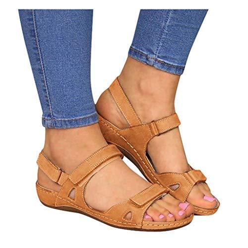 Dasongff Frauen Flache Sandalen Sommer Offene Schuhe mit Klettverschluss Spitze Feste Faux Leder Orthopädische Casual Plattform Rom Damen Elegante Flip Flops Freizeit