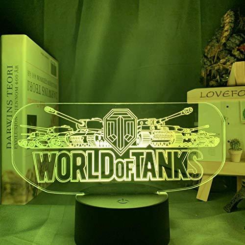 OMCR Illusion Nachtlicht 16 Farben - Uhr - Bluetooth Lautsprecher - Militär Spiele Panzer, 3D Illusion Lampe Led Nachtlicht mit 16 Farben Flashing & Touch-Schalter USB Powered Schlafzimmer Schreibtisc