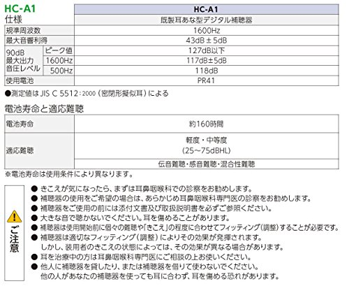 リオネット『トリマー式デジタル補聴器耳あな型(HC-A1)』