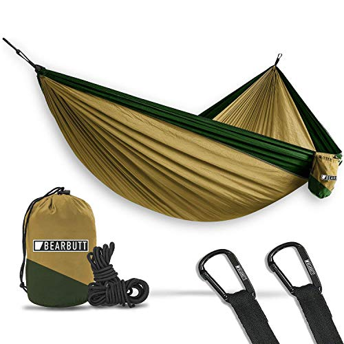 Bear Butt Double Parachute Hammock - Khaki/Dark Green