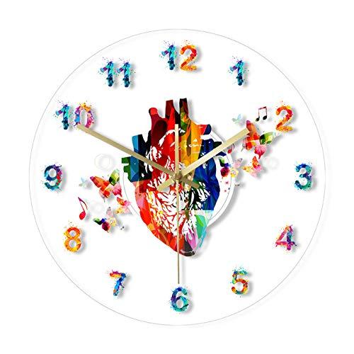 hufeng Reloj de Pared, corazón de anatomía Led con Coloridos números árabes, Pintura, Reloj acrílico, decoración de Arte médico, Arte Cardiovascular