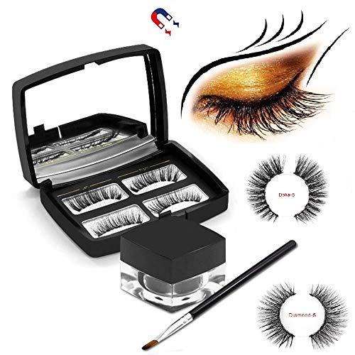 Eyeliner 3D magnétique avec cils magnétiques, [Date 2020] Noir Eyeliner liquide imperméable, anti-transpiration, magnétique, liquide avec brosse et miroir