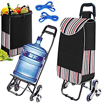 Folding Shopping Cart for Groceries Easy Loading Stair Climber Cart with Tri-Wheels Utility Portable Grocery Cart Waterproof Lightweight for Easy Storage Foldable Compact Pull-Cart with Bungee Cord
