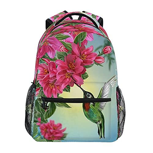 MeetuTrip - Zaino con colibrì a forma di animale, ideale per scuola, bambini, ragazze, per scuola, scuola, scuola, scuola, scuola, campeggio, zaino con fiori tropicali