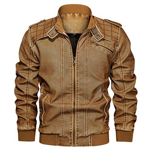 POachers Veste en Cuir Homme Automne Hiver Manteau Rétro Vintage Sweat-Shirt Manches Longues Zippé Blouson Veste Sport Jacket Coat Grande Taille L-6XL