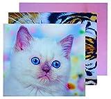 GoOpticians - Set di 3 panni in microfibra per la pulizia dello schermo, per gatti e gatti grandi, motivo: tigre