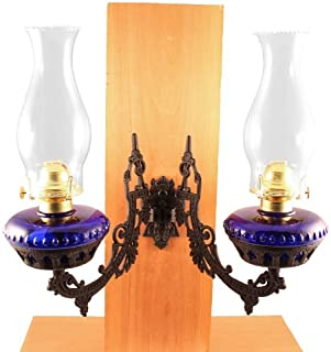 Vermont Lanterns - Dual Glass Oil Lamp w/Cast Iron Wall Bracket (Cobalt Blue)