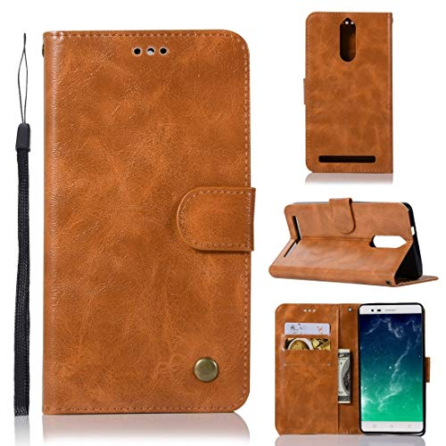 Multifunctional leather case For Lenovo K5 Note Retro Copper Button Crazy Horse Horizontal Flip PU Leather Case with Holder & Card Slots & Wallet & Lanyard (Wine Red) (Color : Gold Yellow)