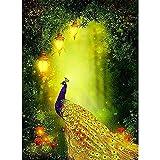 Kit de pintura de diamante 5D por número para adultos, kit de bordado de diamante redondo completo para decoración de pared del hogar, pavo real dorado, 30 x 39,9 cm por Lazodaer