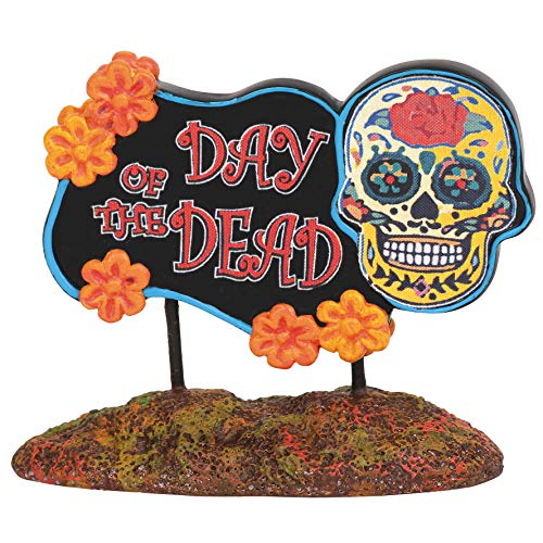Department 56 Village Cross Product Accessories Halloween Day of The Dead Sign Figurine, 1.75 Inch, Multicolor