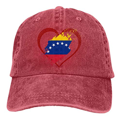 XCNGG Hombres 's/Mujeres' Bandera de Venezuela en Forma de corazón Denim Jeanet Gorra de béisbol Gorra de Hip-Hop Ajustable