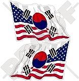 USA Vereinigte Staaten von Amerika und REPUBLIK von KOREA, Amerikanisch und RoK Südkoreanische Wehende Flagge, Fahne 120mm Auto & Motorrad Aufkleber, x2 Vinyl Stickers (Links - Rechts)