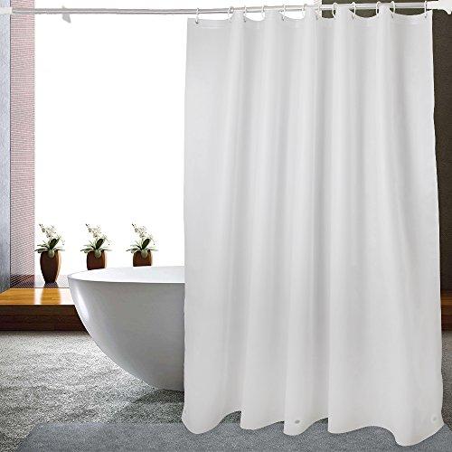 WELTRXE Duschvorhang Anti-Schimmel mit Gewicht Magnet unten, 0.2mm [183x200cm] Wasserdicht Antibakteriell peva Vorhang für Dusche und Badewanne, Weiß Fein Netz Pattern mit 12 super Duschvorhangringen