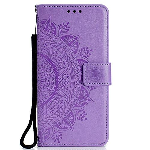 SNOW COLOR Coque iPhone XR Portefeuille, en Cuir Flip Case pour Bumper Protecteur Magnétique Fente Carte Housse Cover Coque pour Apple iPhone XR - COHH050094 Violet