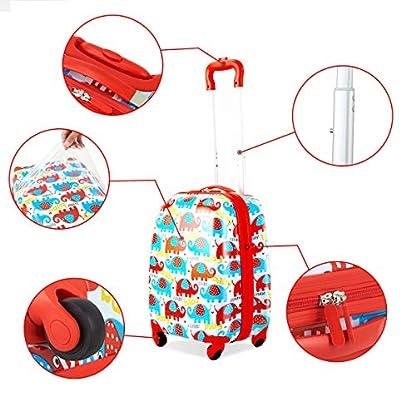 COSTWAY-2tlg-Kinderkoffer-Rucksack-Kofferset-Kindergepaeck-Reisegepaeck-Kindertrolley-Hartschalenkoffer-Rosa