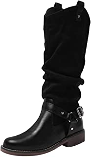 Kauneus High Boots for Women Round Toe Low Heel Leather Martin Boots Ruched Suede Mid Calf Boots