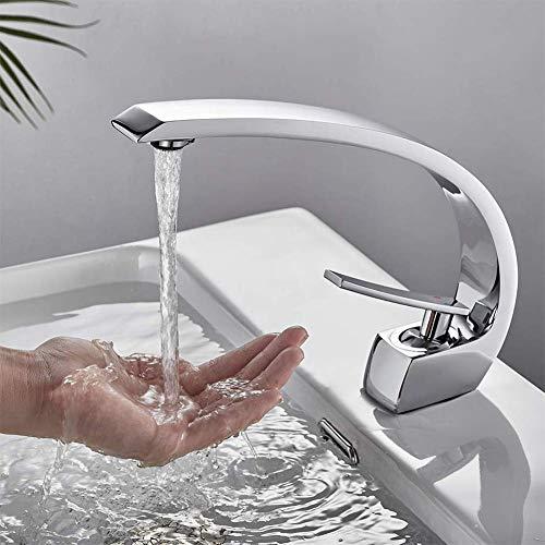 LQH Moderner Einhand-Waschtisch im Bad-Hahn-einzelnen Loch-Waschbecken und Toilette Mischer-Hahn-Einhand-Waschtischarmatur Curved Chrome Adjustable mit Warmer und kalter