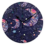 Promini Purple Starry Sky Stars Moon Wooden Wall Clock 15Inch Silent Battery Operated Non Ticking Wall Clock Vintage Wall Decor for Kitchen, Living Room, Bedroom, School, or Office