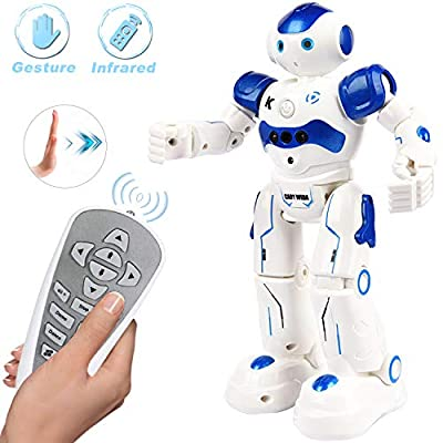Yoego Remote Control Robot, Gesture Control Robot Toy for Kids, Smart Robot with Learning Music Programmable Walking Dancing Singing, Rechargeable Gesture Sensing Rc Robot Kit (Blue)