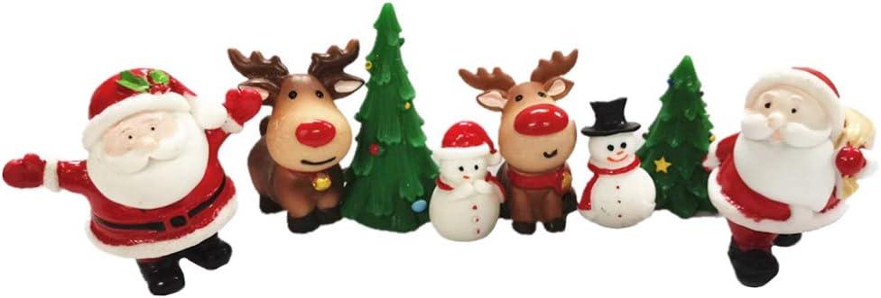 Happyyami 8pcs Mini Christmas Ornaments Santa Snowman Reindeer Xmas Tree Miniatures Resin Christmas Cake Figurines Christmas Dollhouse Fairy Garden Decorations (Random Style)