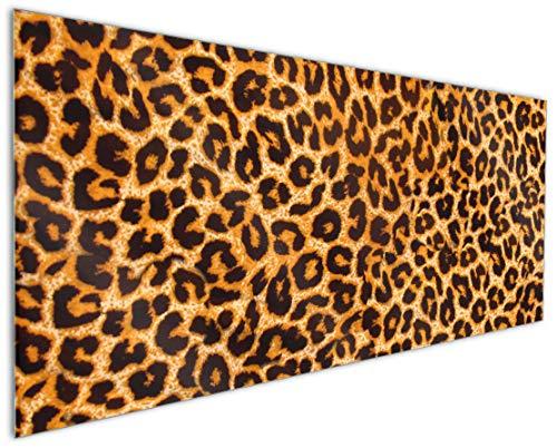 Wallario Küchenrückwand aus Glas, in Premium Qualität, Motiv: Leopardenmuster in orange schwarz | Spritzschutz | abwischbar | pflegeleicht