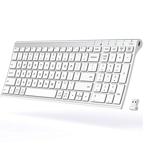 iClever Wireless Keyboard - Rechargeable Wireless Keyboard Ergonomic Full Size Design with Number Pad, 2.4G Stable Connection Slim White Keyboard for Windows, Mac OS Computer (White)