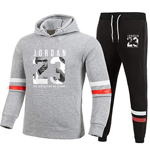 Jordan 23 # - Conjunto de chándal para hombre, estilo casual, uniforme de baloncesto con capucha y pantalones deportivos para correr, pantalones gris-XXL