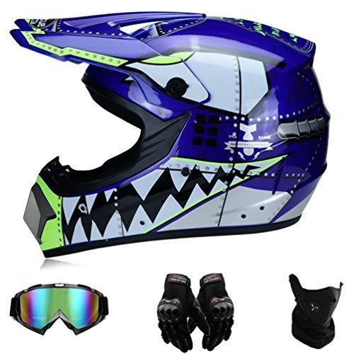 GD-SJK Motorradhelm, lila Motorrad Crosshelm, Motocross Helm mit Brille - Off Road Helm Fullface MTB Schutzhelm für Herren Damen Sicherheit Schutz,Four Seasons Universal (lila, XL)