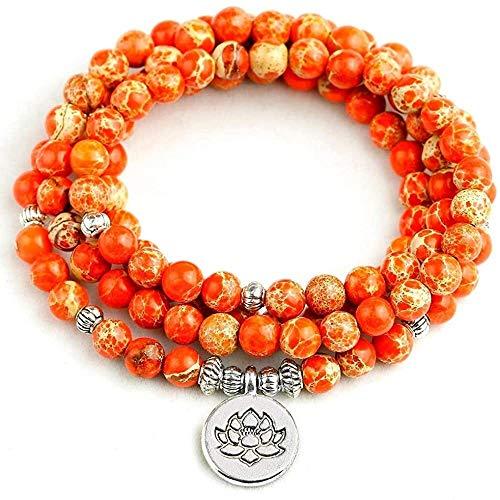 Pulsera Personalizada Collar de Moda Pulsera para Mujeres Naranja mar sedimento Piedra 108 Mala Collar 6mm Perlas Buddha Yoga Pulsera Mujeres Hombres