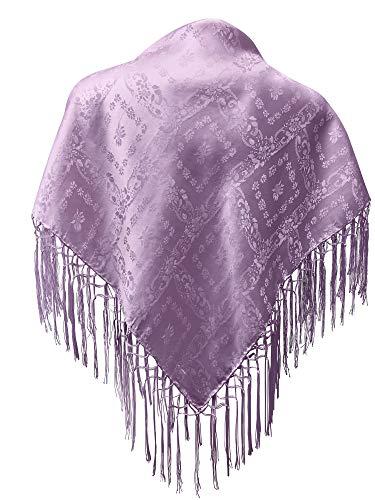 Seidentuch Dirndl-Trachtentuch Tuch flieder 75x75cm Dirndltuch Seide Fransentuch lila violett purple für Tracht Trachtenseidentuch mit Fransen Schultertuch Halstuch silk clouth hochwertigste Qualität!